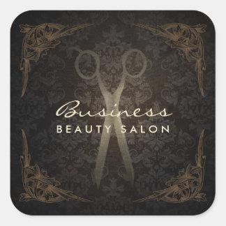 Vintage Framed Damask Hair Salon Scissor Square Sticker