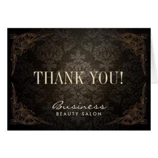 Vintage Framed Damask Salon Business Thank You Card