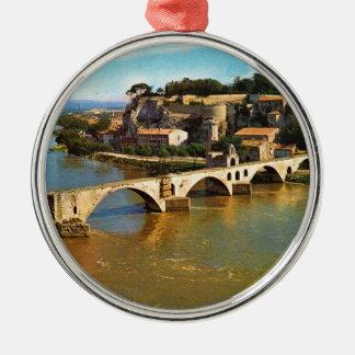 Vintage France, Avignon; broken bridge Metal Ornament