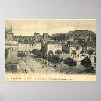 Vintage France, Belfort, Place de la Republique Poster