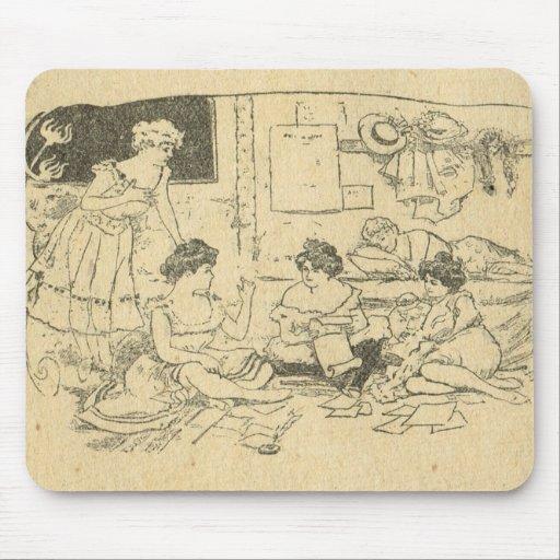 Vintage France, Belle Epoch, Ladies at leisure Mouse Pad