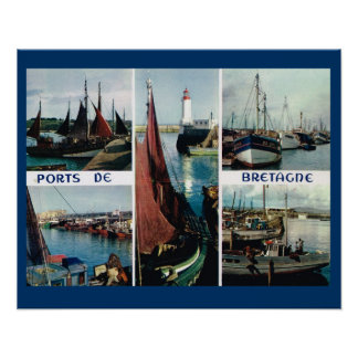 Vintage France, Bretagne, Boats and ports Posters