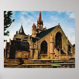 Vintage France, Bretagne, Penmarch, Eglise St Nonn Poster
