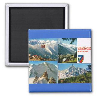 Vintage France, Chamonix, Mt Blanc Square Magnet