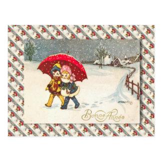 Vintage France, Children under umbrella, snowing Postcard