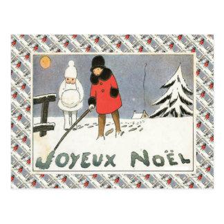 Vintage France, Girls in a snowy landscape Postcard