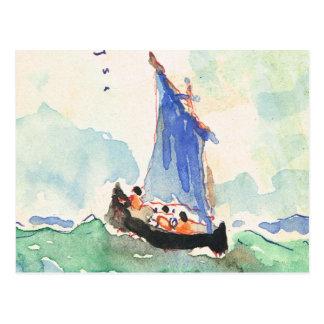 Vintage France, Hand painted boat at sea, 1935 Postcard