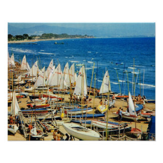VIntage France, Hyeres Port et marina, Var Print