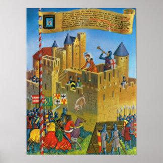Vintage France, Medieval Carassonne Poster