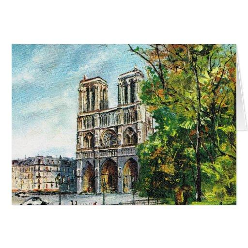 Vintage France, Notre Dame de Paris Greeting Card