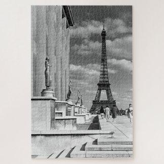 Vintage France Paris Eiffel tower Chaillot palace Jigsaw Puzzle