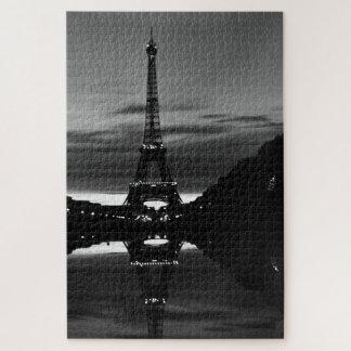 Vintage France Paris Eiffel tower reflection Jigsaw Puzzle