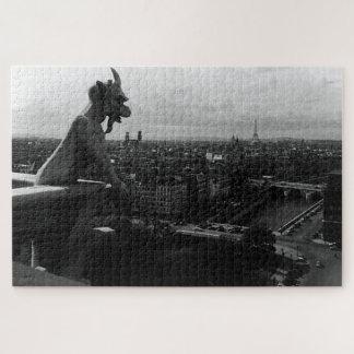 Vintage France Paris Notre Dame Cathedral devil Jigsaw Puzzle