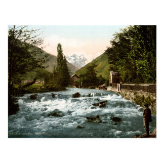 Vintage France, Pique waterfall angler, Luchon Postcard