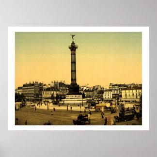 Vintage France, Place de la Bastille, Paris Poster