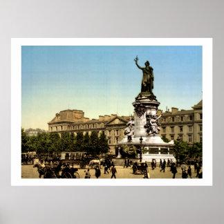 Vintage France, Place de la République Paris Poster