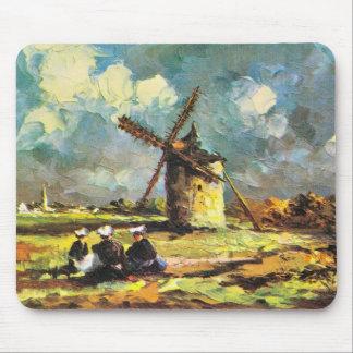 Vintage France, Pointe du Van, Finistere, Windmill Mouse Pad