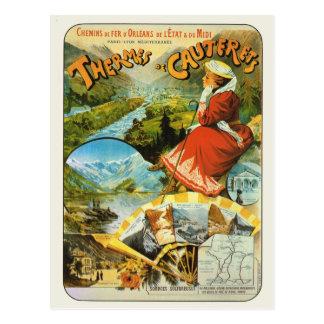 Vintage France Railway poster Thermes de Cauterets Postcard