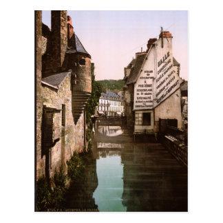 Vintage France, River Steir Footbridge, Quimper Postcard