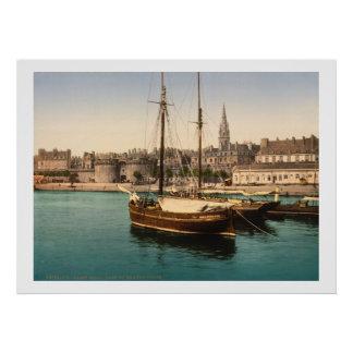 Vintage France, Ships in Saint Malo Harbor Poster
