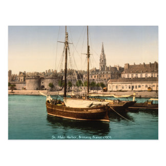Vintage France St Malo Harbor Brittany Postcards