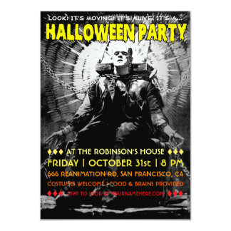 Vintage Frankenstein Halloween Party Invitations