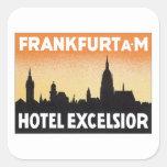 Vintage Frankfurt Germany Hotel Square Sticker
