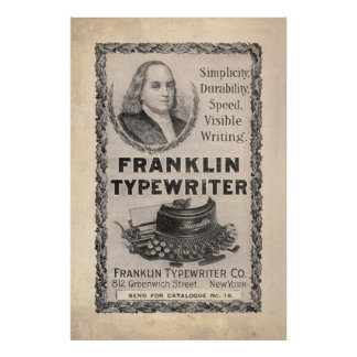 Vintage Franklin Typewriter Ad from 1899 Print