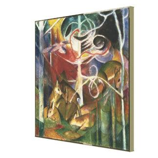 Vintage Franz Marc Deer in the Forest Canvas Print