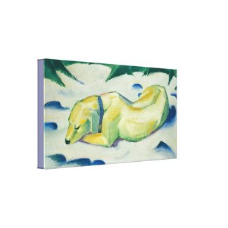 Vintage Franz Marc Dog Lying in the Snow Canvas Print