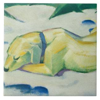 Vintage Franz Marc Dog Lying in the Snow Tile