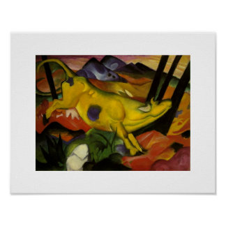 Vintage Franz Marc The Yellow Cow Poster