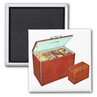 Vintage Freezer Appliances Fridge Square Magnet