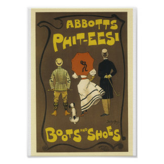 Vintage French Advertising Abbots Phit-tees Boots Poster