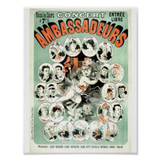 Vintage French Advertising Concert  Show 1881 Poster