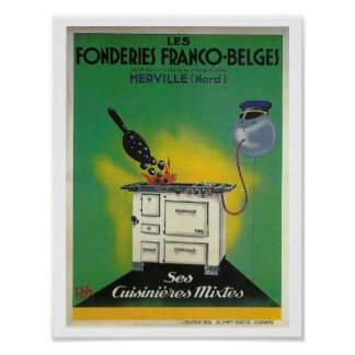 Vintage French advertising stove Kitchen decor Poster