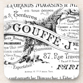 vintage french advertising typography coasters