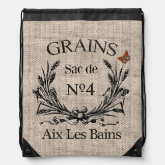 Vintage French Aix Les Bains Grainsack-Effect Backpacks