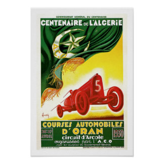 Vintage French Algerian Auto Race Ad Poster