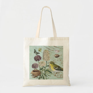 Vintage French bird and floral tote bag
