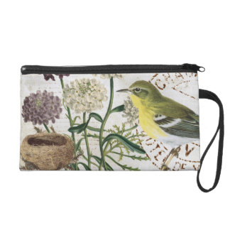 Vintage French bird and floral wristlet