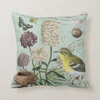 Vintage French bird and nature pillow