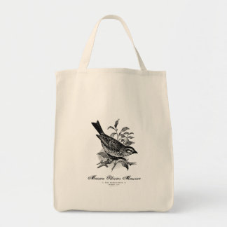 Vintage French bird black and white tote Grocery Tote Bag
