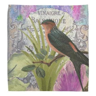Vintage French Bird Collage Perfume Label Bandana