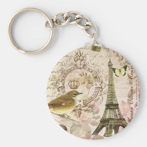 Vintage French bird  Eiffel Tower keychain
