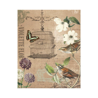 Vintage French birds and garden stretched canvas Canvas Print