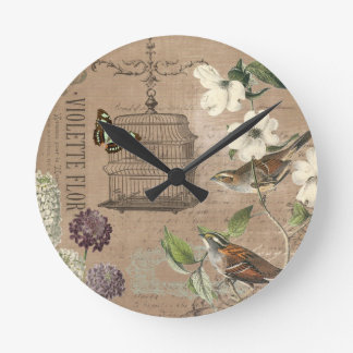 Vintage French birds and garden wall clock