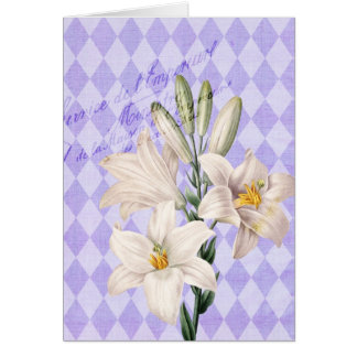 Vintage French Botanical Lilies Card