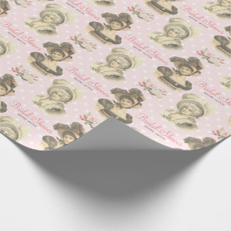Vintage French Bridal Shower Pink Roses Custom Wrapping Paper