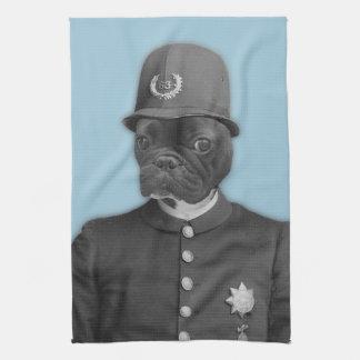 Vintage French Bulldog Policeman Tea Towel